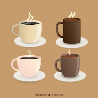 Coffee cup collection with steam
