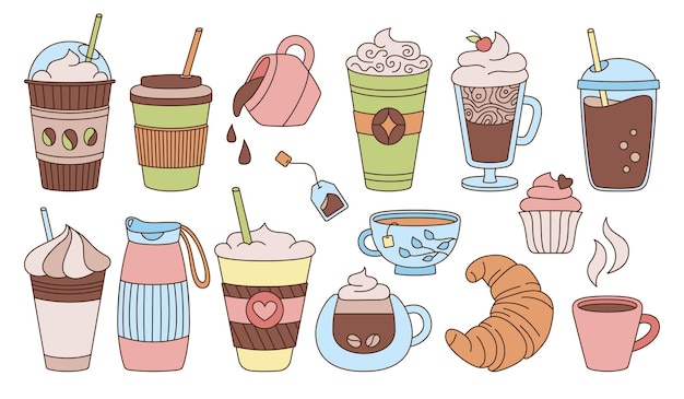 Coffee cup colored sketch cartoon set trendy doodle flat various cups to go glass drink foam croissant hot chocolate glass tea different disposable coffee cup icon collection