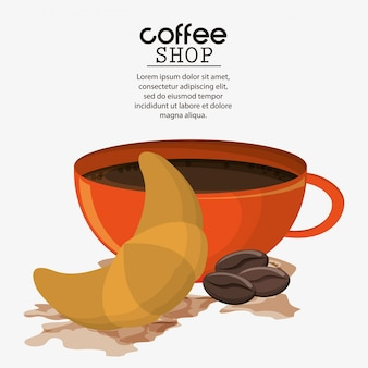 Coffee cup croissant bean