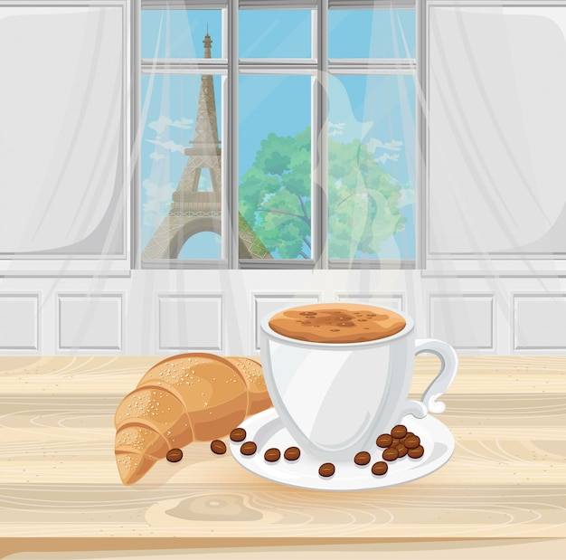 Coffee cup and croissant with eiffel tower