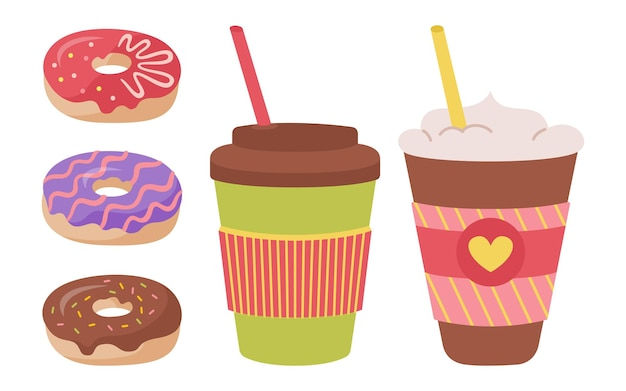 Coffee cup and donut hand drawn cartoon set trendy colored flat cups to go breakfast doughnut drinks foam hot chocolate or tea different disposable coffee icon collection