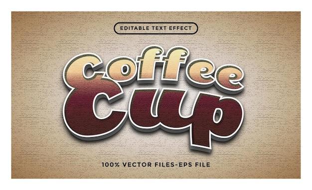 Редактируемый текстовый эффект кофейной чашки премиум векторы