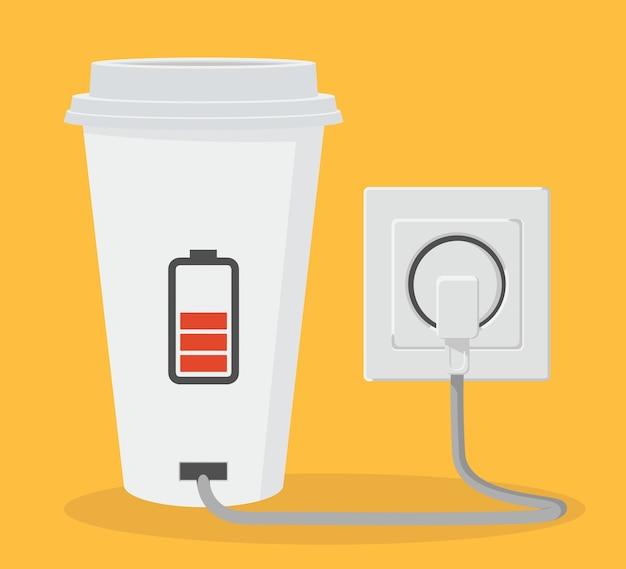 커피 컵 . 에너지 벡터 디자인 컨셉