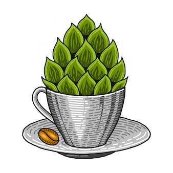 Coffee cup and hop