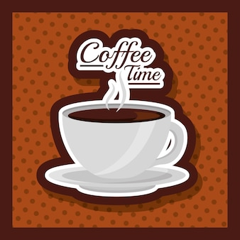 Coffee cup hot drink fresh dots background