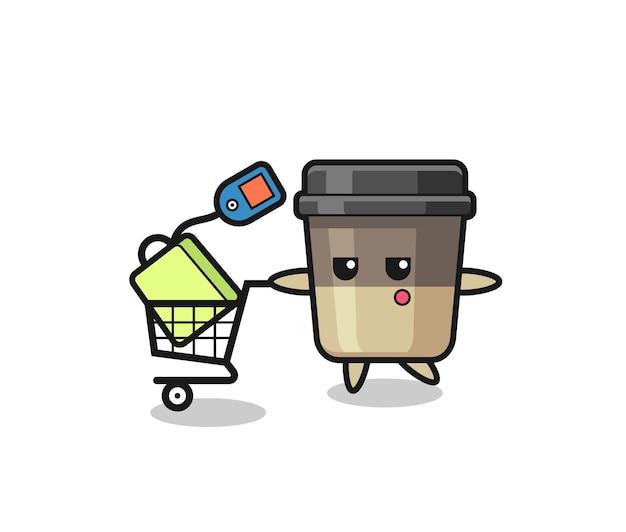 Мультфильм иллюстрация чашки кофе с тележкой для покупок, милый стиль дизайна для футболки, стикер, элемент логотипа