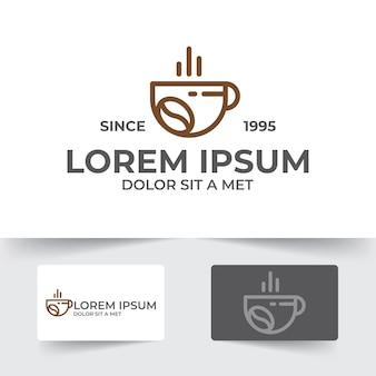 Шаблон иллюстрации чашки кофе с дизайном стиля контура, изолированные на белом фоне