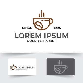 Coffee cup illustration template with outline style design isolated on white background