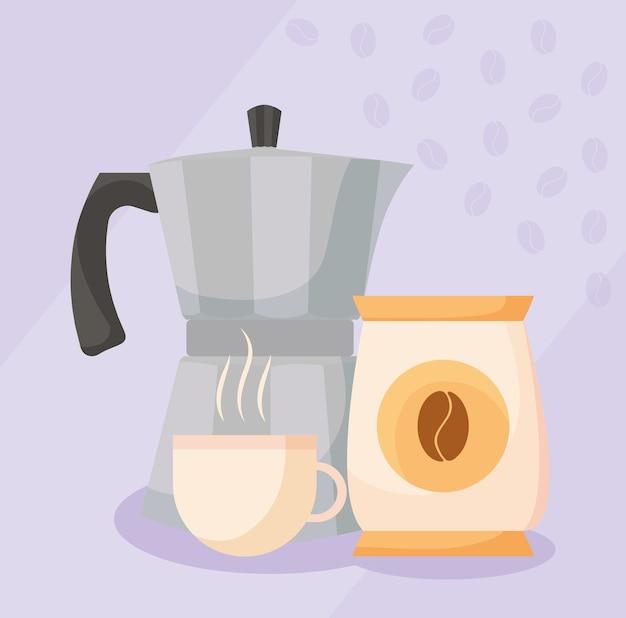 Чайник с кофейной чашкой и сумка для зерен с напитком, кофеином, завтраком и напитком