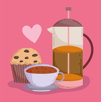 Coffee cup and kettle