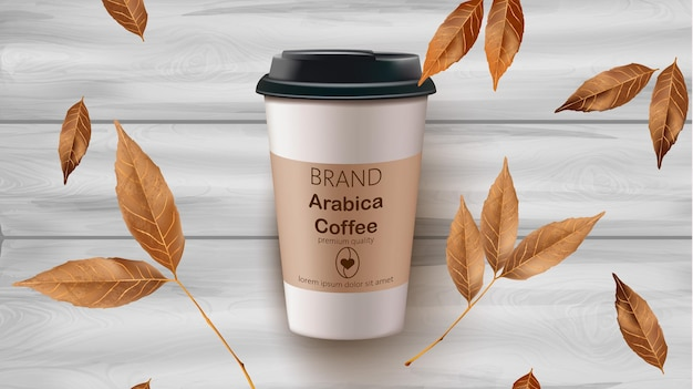 Coffee cup and leaves realistic