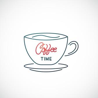 白い背景で隔離のコーヒーカップラインアイコン