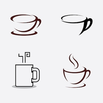 コーヒーカップロゴコーヒーショップベクトルアイコンデザイン