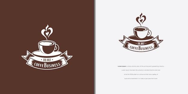 黒茶色の背景にコーヒーカップのロゴデザイン