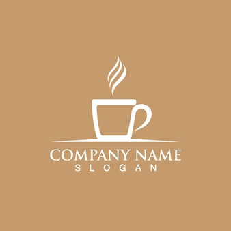 Чашка кофе логотип шаблон вектор икона дизайн