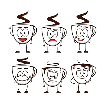 Кофейная чашка человек мультяшный забавный персонаж талисман иллюстрации набор выражений