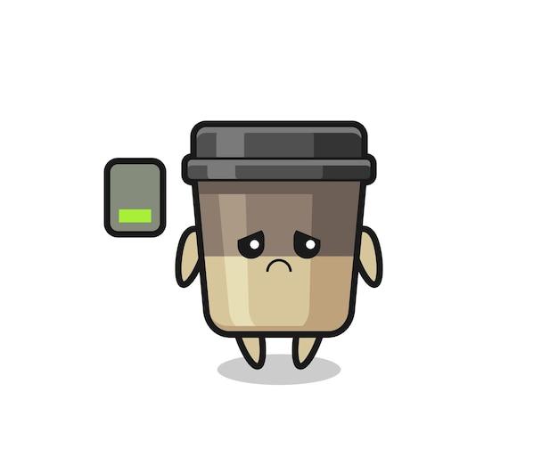 피곤한 몸짓을 하는 커피 컵 마스코트 캐릭터, 티셔츠, 스티커, 로고 요소를 위한 귀여운 스타일 디자인
