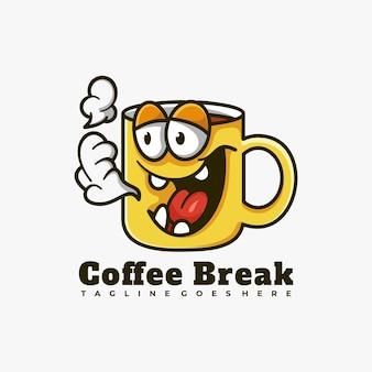 커피 컵 마스코트 캐릭터 로고 디자인 벡터 일러스트 레이션