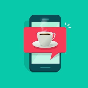 Coffee cup on mobile phone or cellphone
