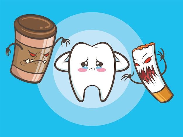 커피 컵 괴물과 담배 좀비가 귀여운 건강한 치아를 죽이고 있습니다.