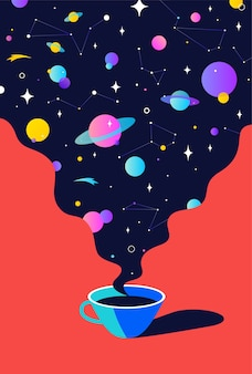 커피. 우주 꿈, 행성, 별, 우주와 함께 커피 한잔.
