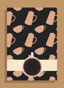 ポットとカップをテーマにした黒いポスターにコーヒーカップ