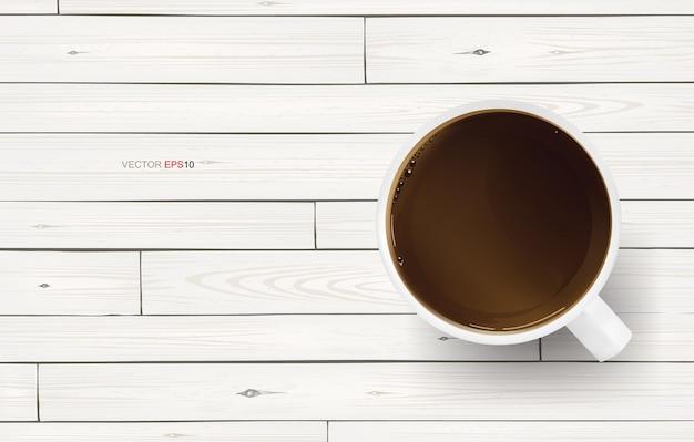 白い木の質感の背景にコーヒーカップ。ベクトルイラスト。