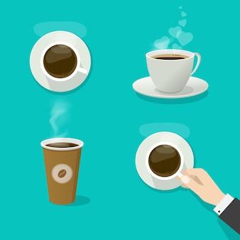 コーヒーカップまたはホットドリンクマグベクトルフラット漫画と3dサイドスタイルイラスト孤立したクリップアート