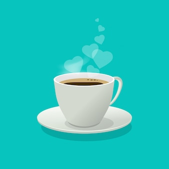 コーヒーカップやフラット漫画の煙や蒸気としての愛の心とマグカップ