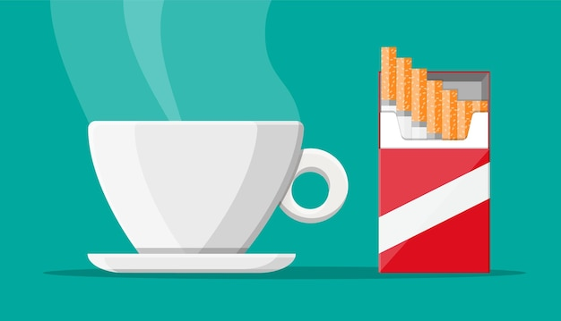 Coffee cup and package of cigarettes