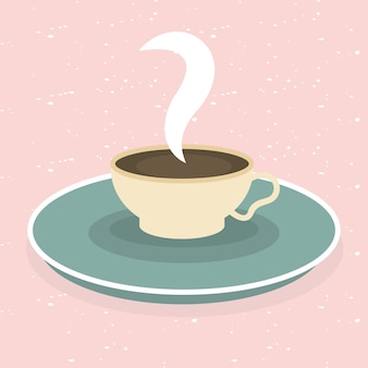 Coffee cup on pink design of time drink breakfast beverage shop