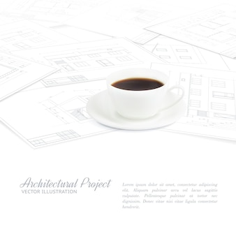Coffee cup placed over blueprints sketches.