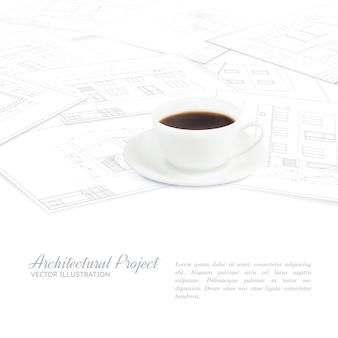 コーヒーカップは、青写真のスケッチの上に配置されます。