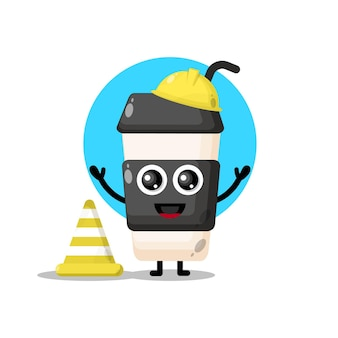 Coffee cup plastic construction worker cute character mascot
