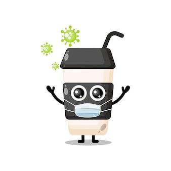 커피 컵 플라스틱 마스크 바이러스 귀여운 캐릭터 마스코트
