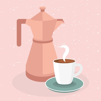Coffee cup and pot on pink