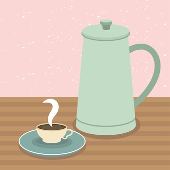 Coffee cup and pot on table illustration