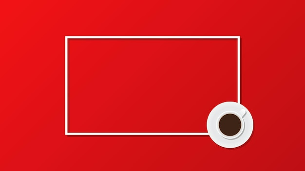 Coffee cup on red background flat lay top view copy space frame vector illustration