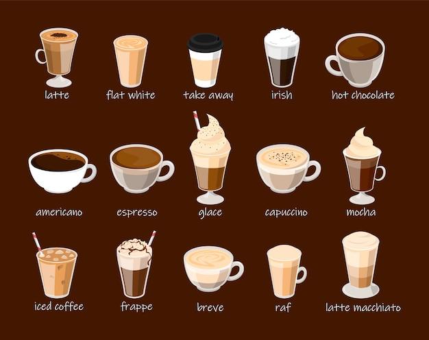 分離されたコーヒーカップセット。カプチーノ、ラテ、フラッペ、モカ。