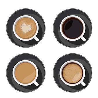 コーヒーカップセットの上面図。アメリカーノ、ラテ、エスプレッソ、カプチーノ、マキアート、モカの品揃えが白い背景に分離されています。