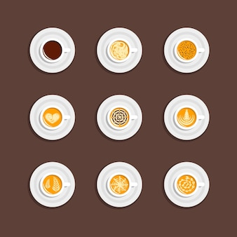 Coffee cup set in top view
