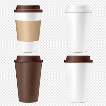 Coffee cup set  transparent background
