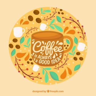 Coffee cup silhouette background with lettering