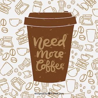 Силуэт чашки кофе с надписью