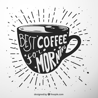 Coffee cup silhouette with lettering