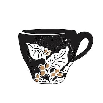 Чашка кофе эскиз ветки бобов аромат тропический напиток