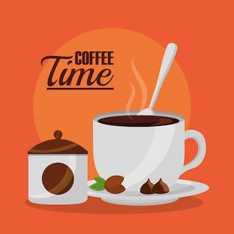 Кофе чашка сахара и ложка кофе время