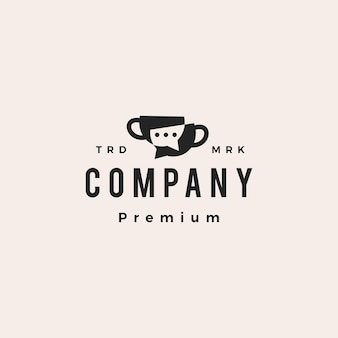 Coffee cup talk chat communication forum hipster vintage logo vector icon illustration