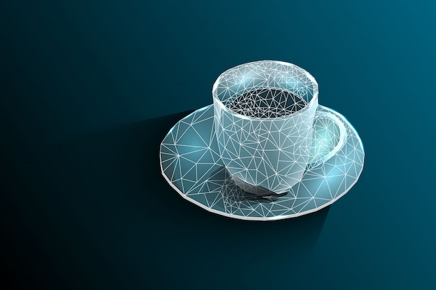 Coffee cup. tea cup. vector polygonal image, consisting of lines and shapes.