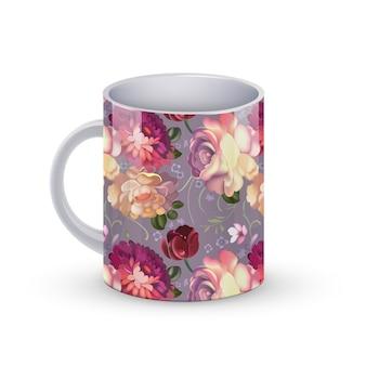 Иллюстрация шаблона кофейной чашки с картиной цветка русской традиционной.